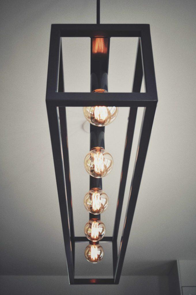 Hanglamp, staal, lichtbol, gloeidraad